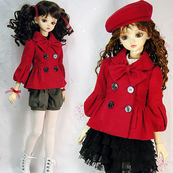 CheeryDoll MSD Ribbon Pointed HalfCoat Red Outfit