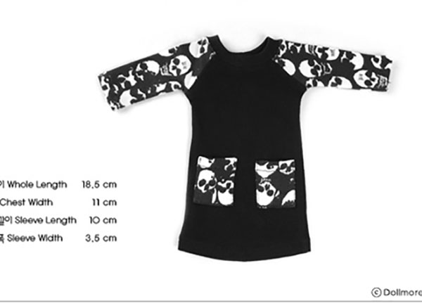 Dollmore Kid MSD Maronnier Tunic Black Skull Print Outfit