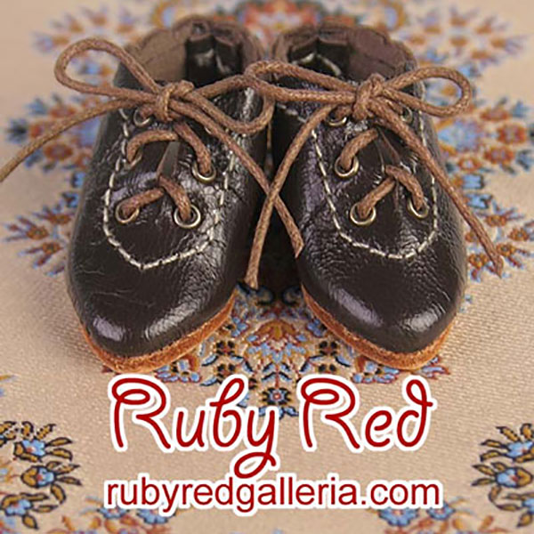 RubyRed Galleria Bleuette Tan Ruffle Dark Brown Tie Shoes