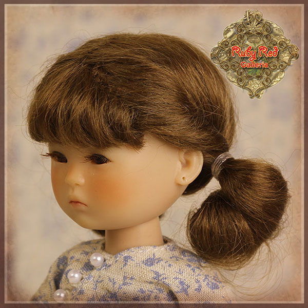 RubyRed Galleria Size 5/6 Ten Ping Brown Mohair Wig with Pigtails