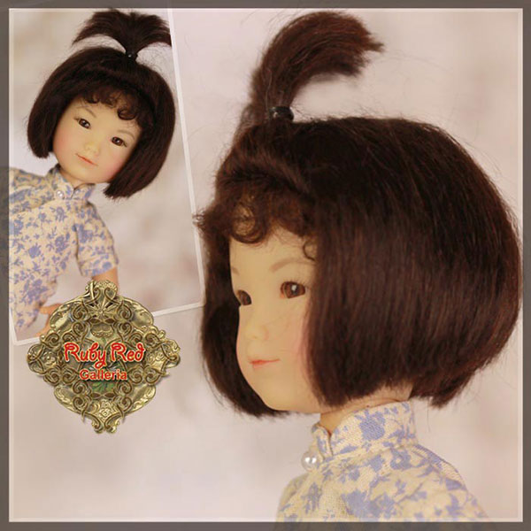 RubyRed Galleria Size 5/6 Ten Ping Black Mohair Wig with Modified Bob