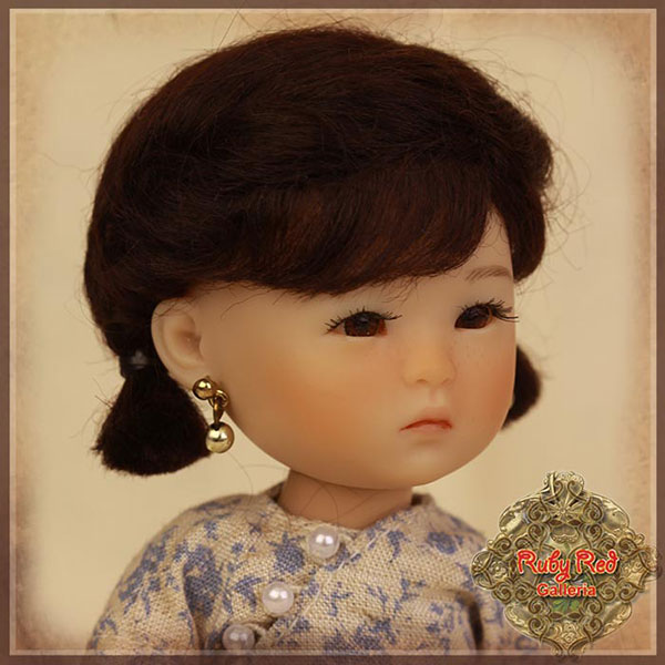 RubyRed Galleria Size 5/6 Ten Ping Black Mohair Wig with Pigtails