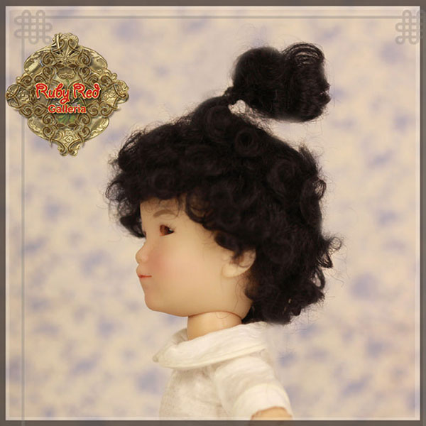 RubyRed Galleria Size 5/6 Ten Ping Black Mohair Wig with Updo