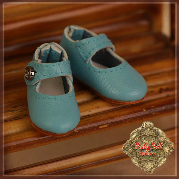 RubyRed Galleria Ten Ping Blue Leather Mary Janes Shoes