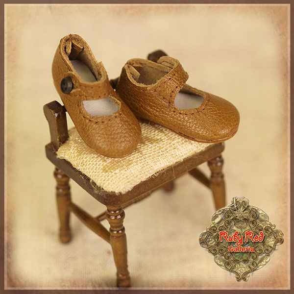 RubyRed Galleria Ten Ping Brown Leather Mary Janes Shoes