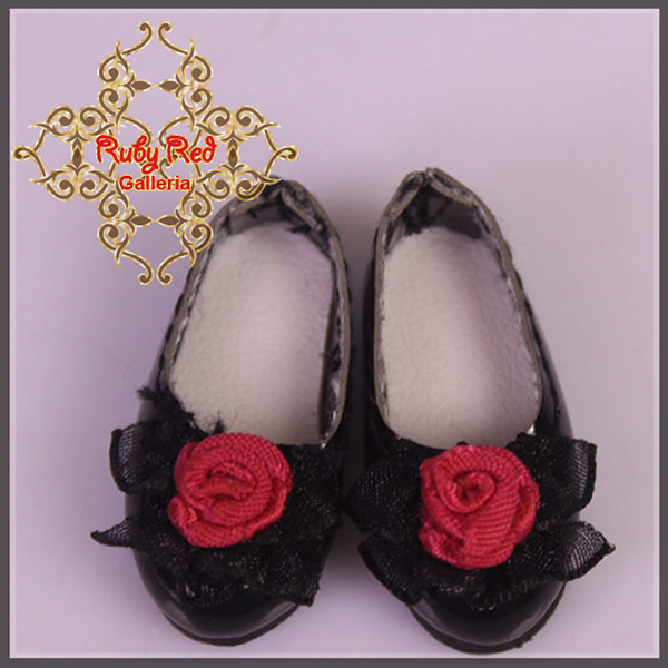 RubyRed Galleria Tiny Black Leather Flats Shoes