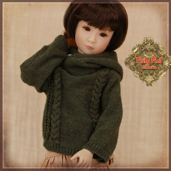 "ruby red galleria 12"" army green sweater wc0058B"