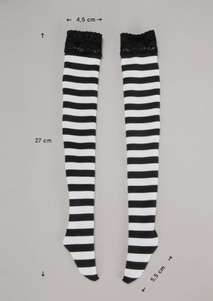 doll more sd rropia black white striped stockings