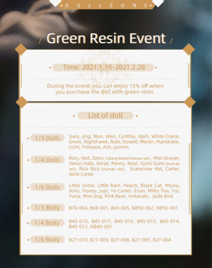 doll zone 2021 winter green resin event