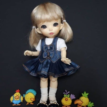 anydoll style small pukifee frill denim dress