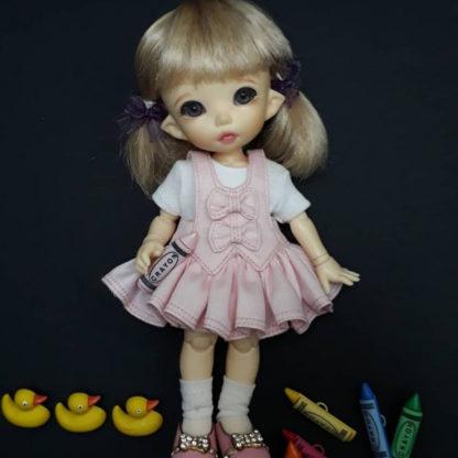 anydoll style small pukifee frill pink dress